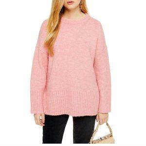 NWT Topshop Supersoft Deep Hem Crewneck Sweater S